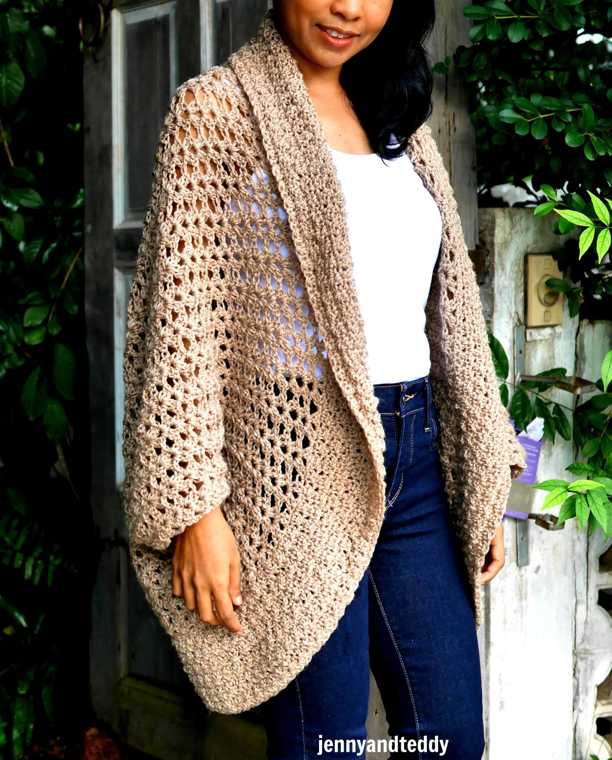 simple crochet coccon cardigan easy tutorial