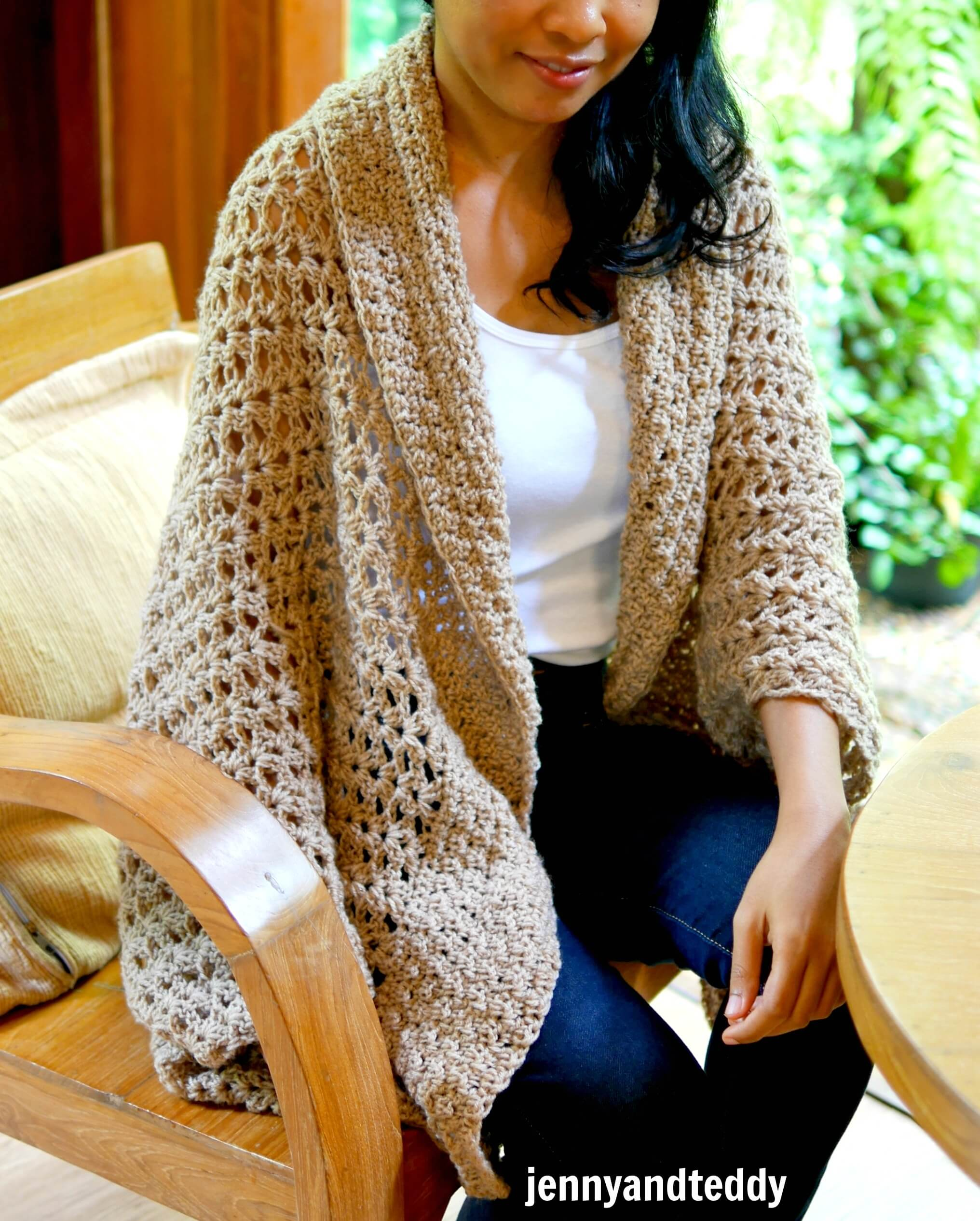 toasted honey cocoon cardigan free tutorial