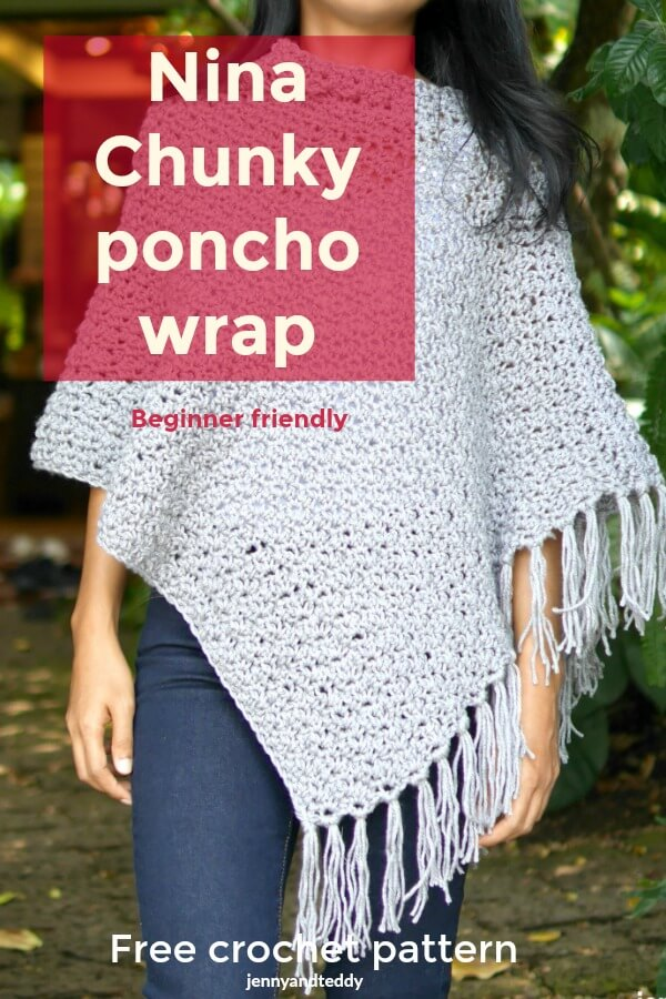 nina easy chunky poncho wrap crochet tutorial
