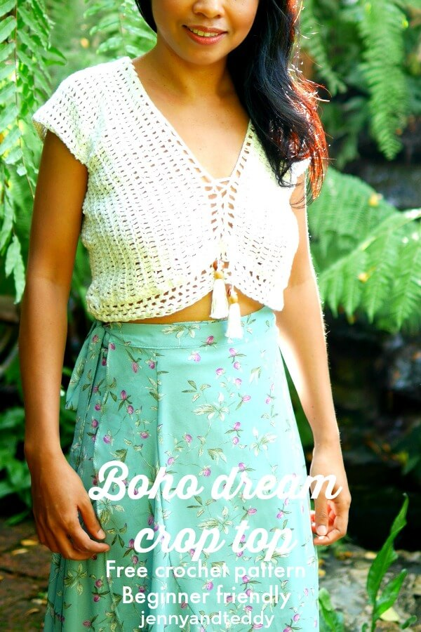 boho dream crochet crop top free pattern