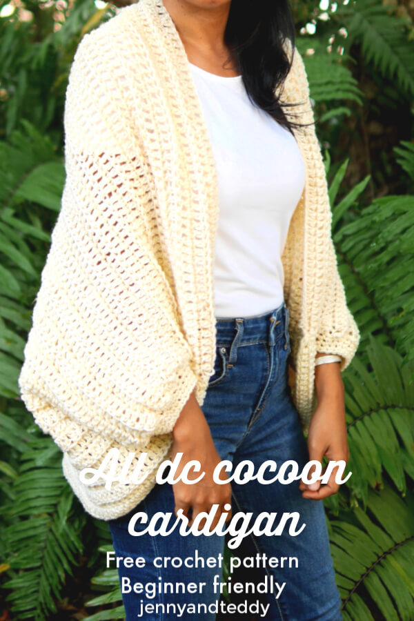 all double crochet cocoon cardigan free crochet tutorial
