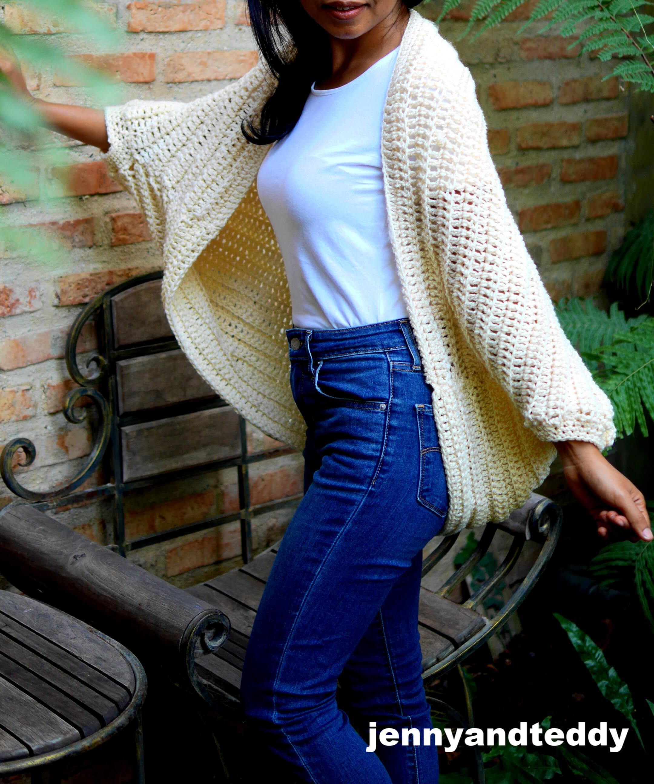 easy double crochet chunky cocoon cardigan for beginner crochet tutorial