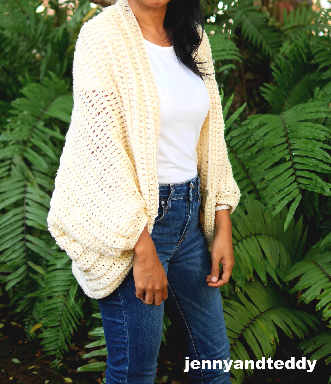 all double crochet cocoon cardigan free crochet pattern