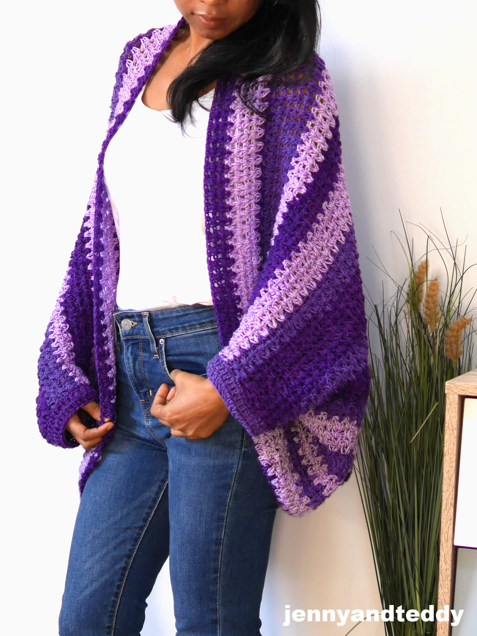 crochet v stitch cocoon cardigan tutorial