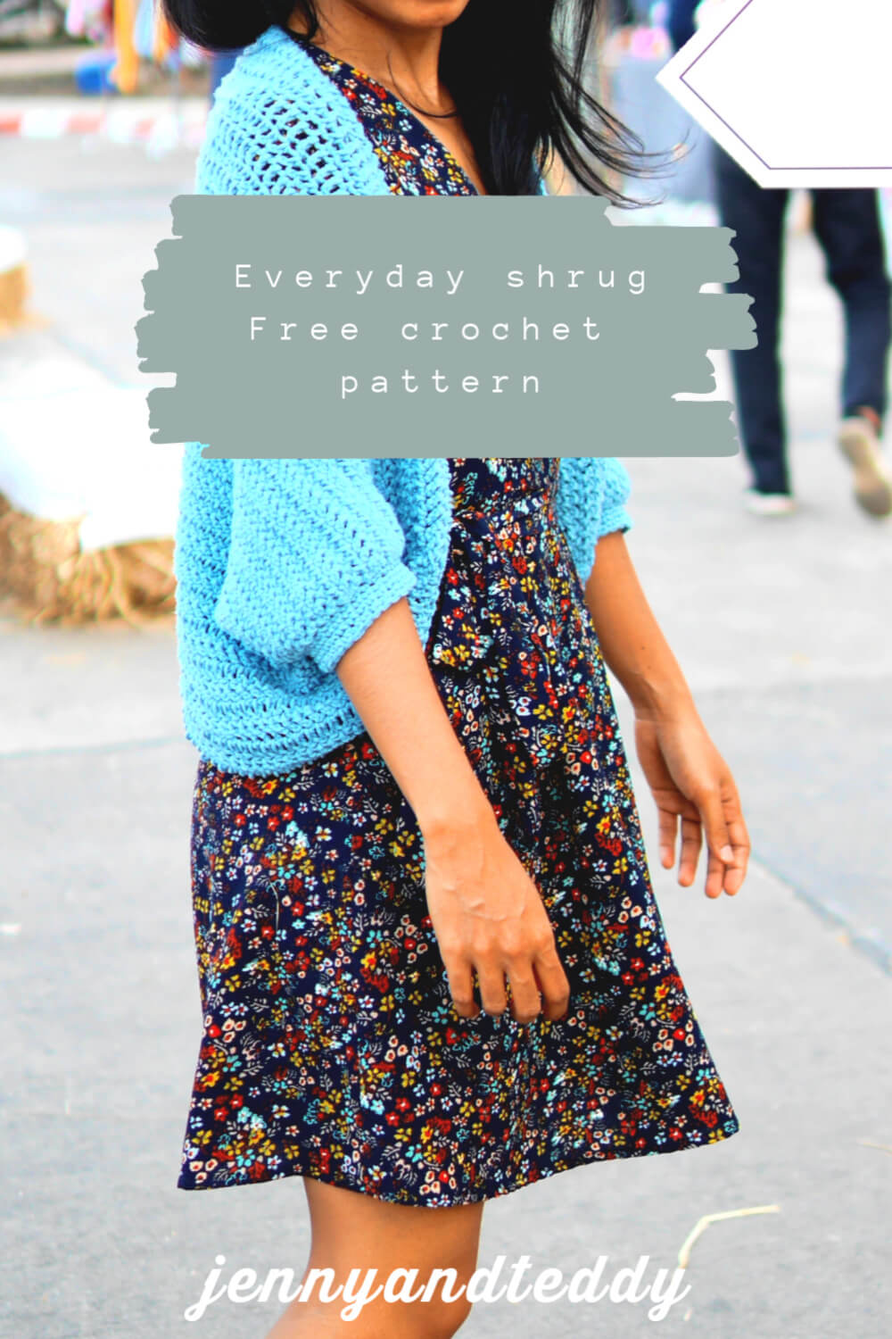 easy everyday shrug crochet tutorial blue
