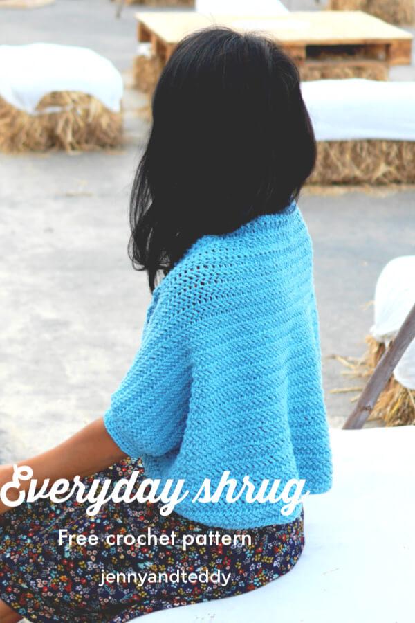 easy crochet blue shrug free pattern