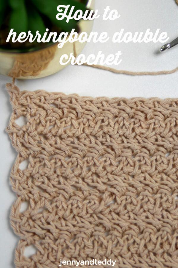 how to crochet herringbone double crochet stitch
