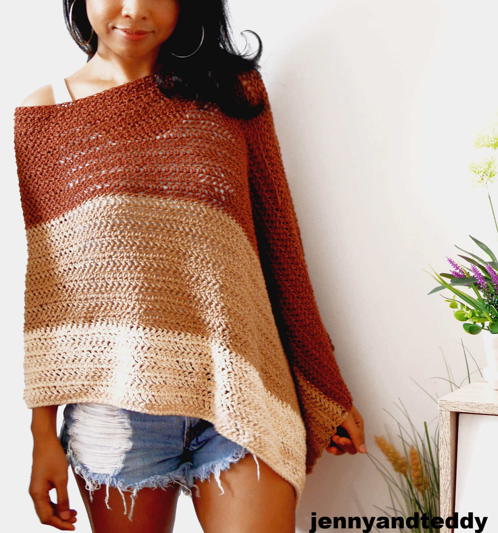 cookie and cream poncho wrap crochet