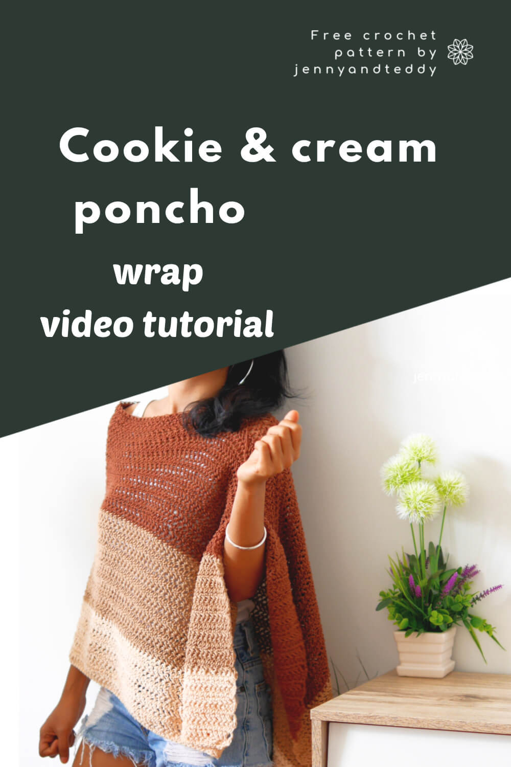 cookie and cream poncho wrap crochet how to