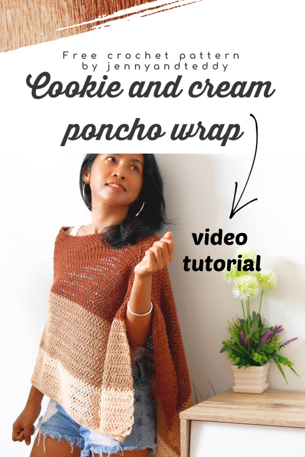 cookie and cream poncho wrap crochet tutorial