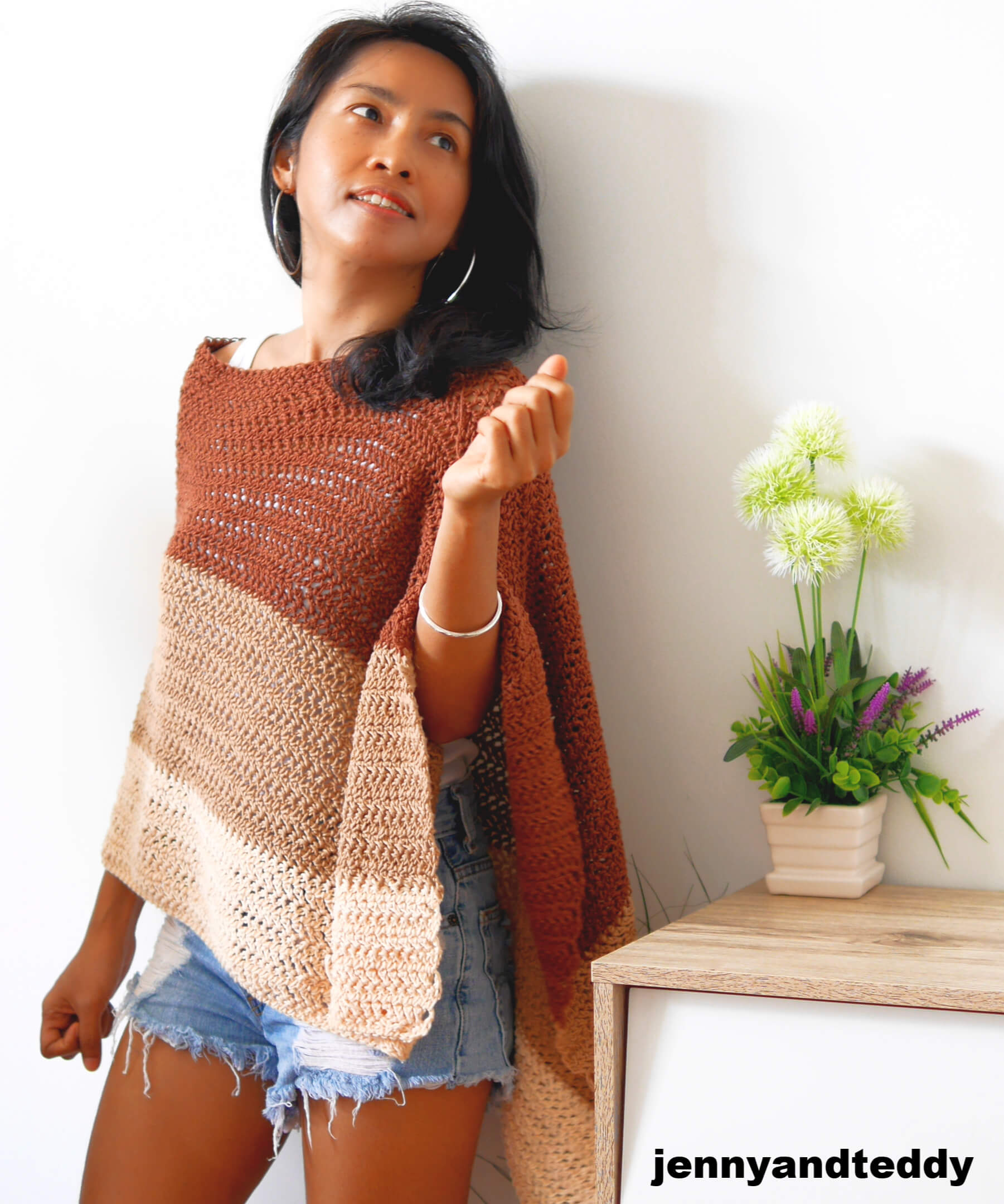 crochet poncho wrap cookie and cream