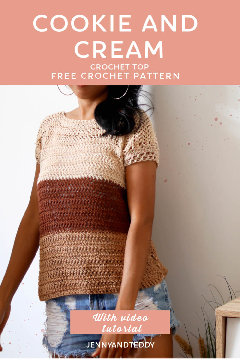 easy crochet summer toptee cookie and cream how to tutorial