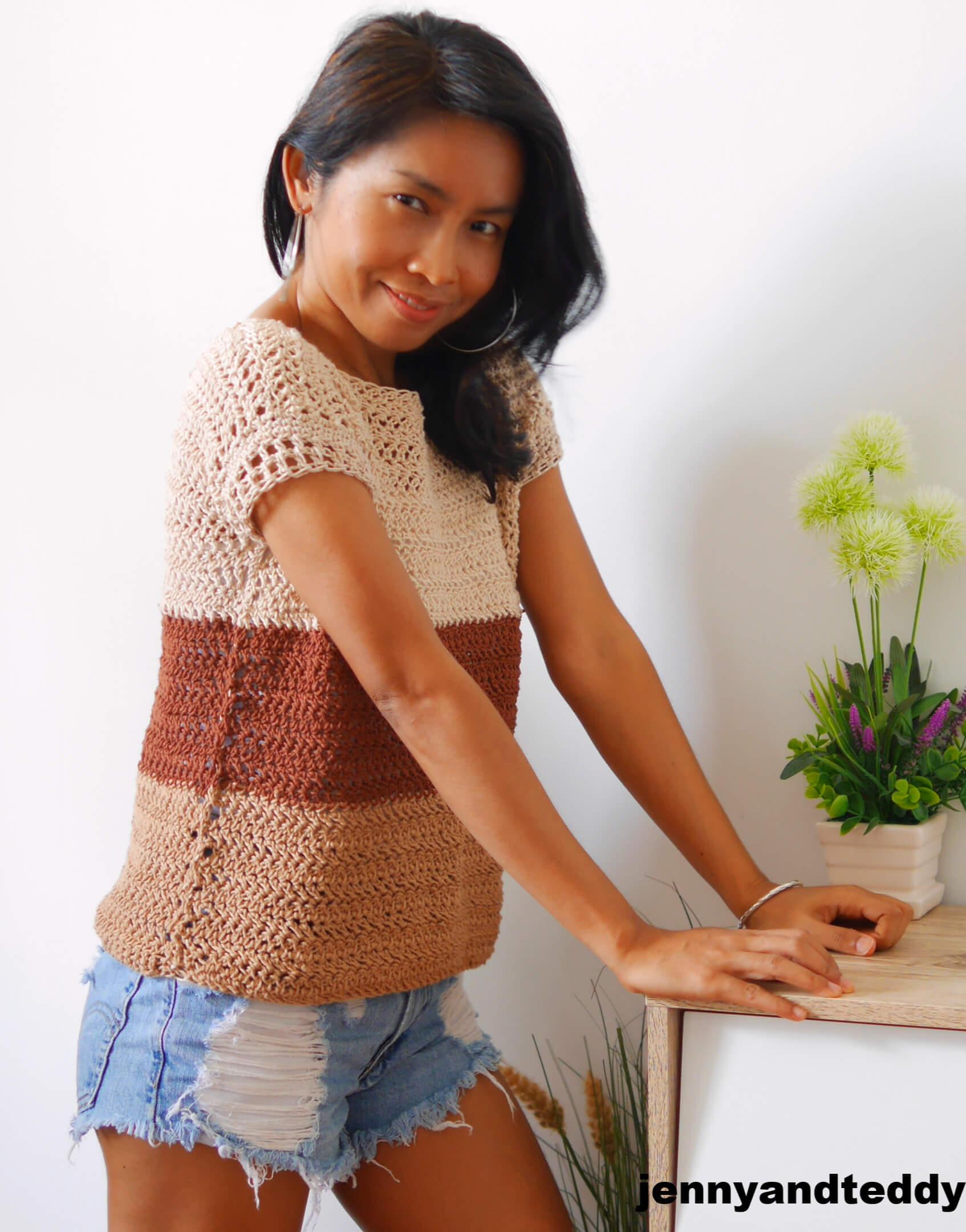 herringbone crochet top tee  free pattern and how to
