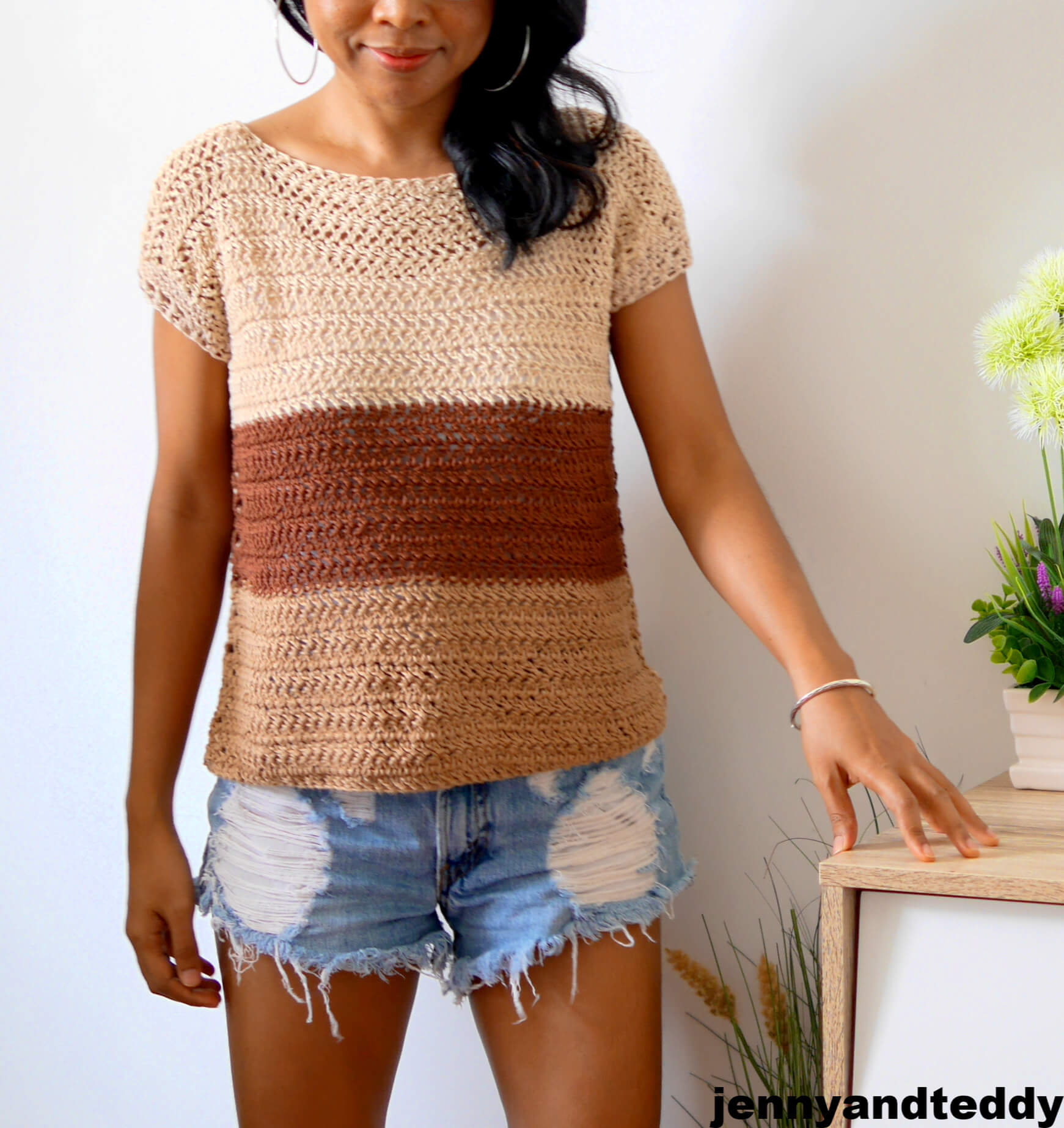 cookie and cream easy summer top and spring crochet tutorial