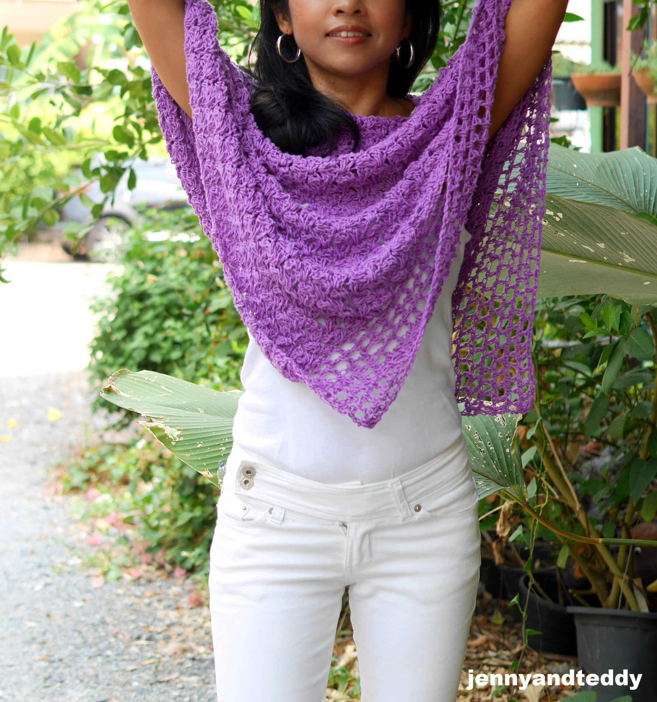 purple poncho wrap diy crochet