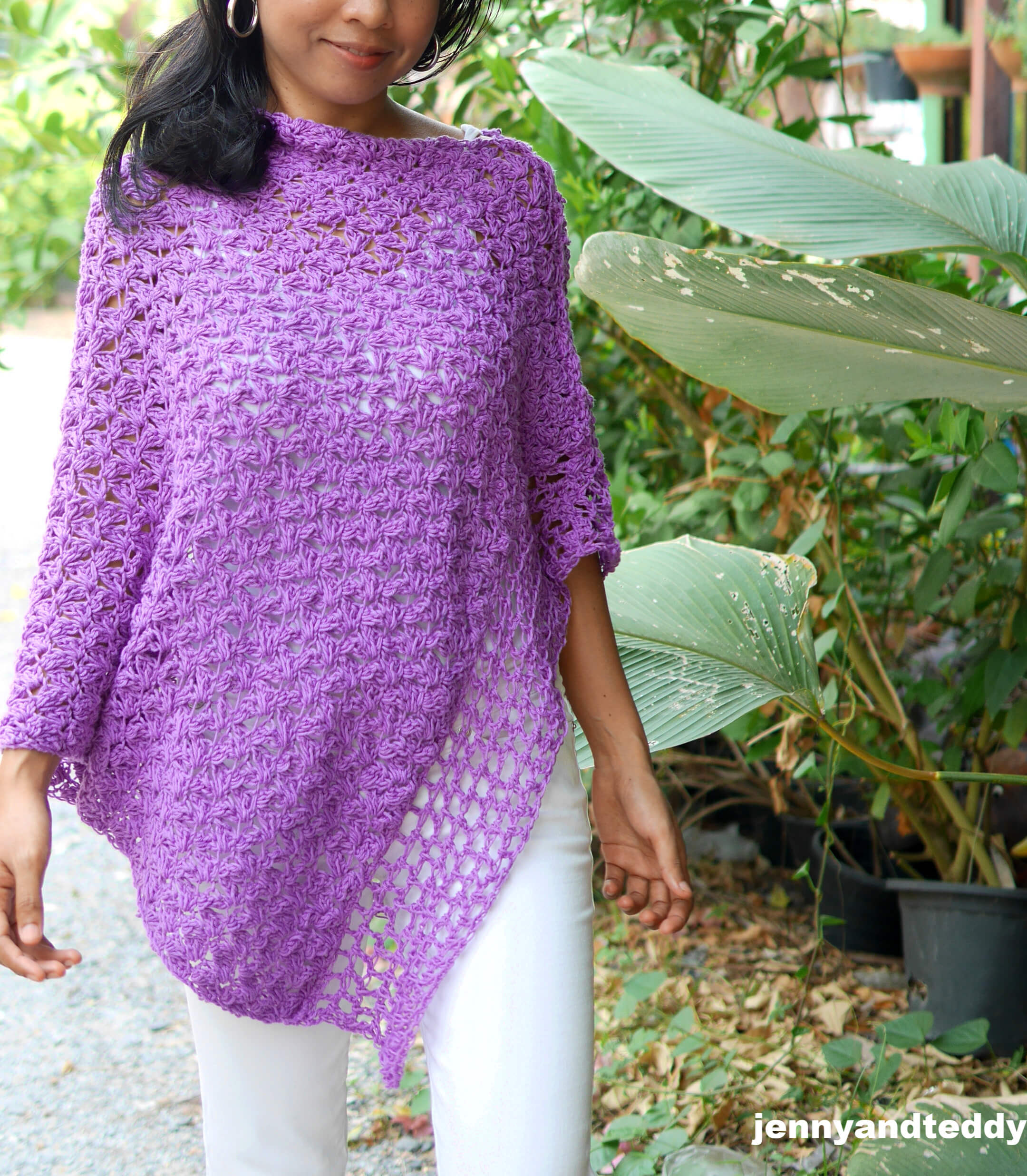 how to make crochet poncho with cotton yarn