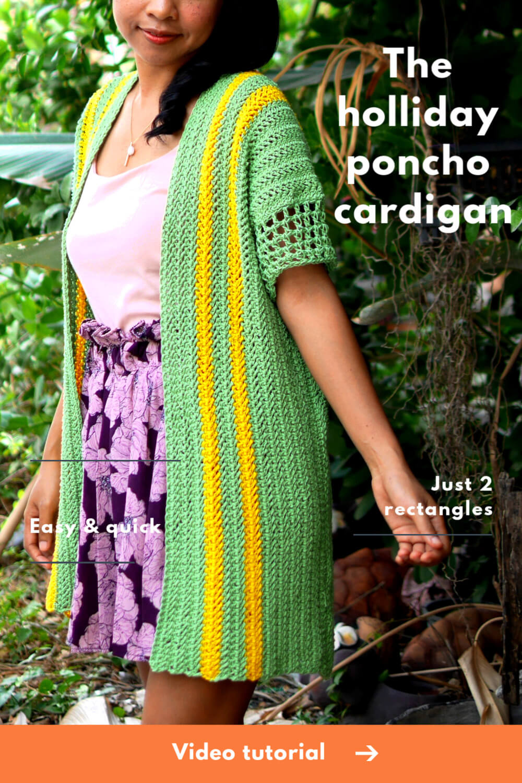 simple summer crochet poncho cardigan video tutorial
