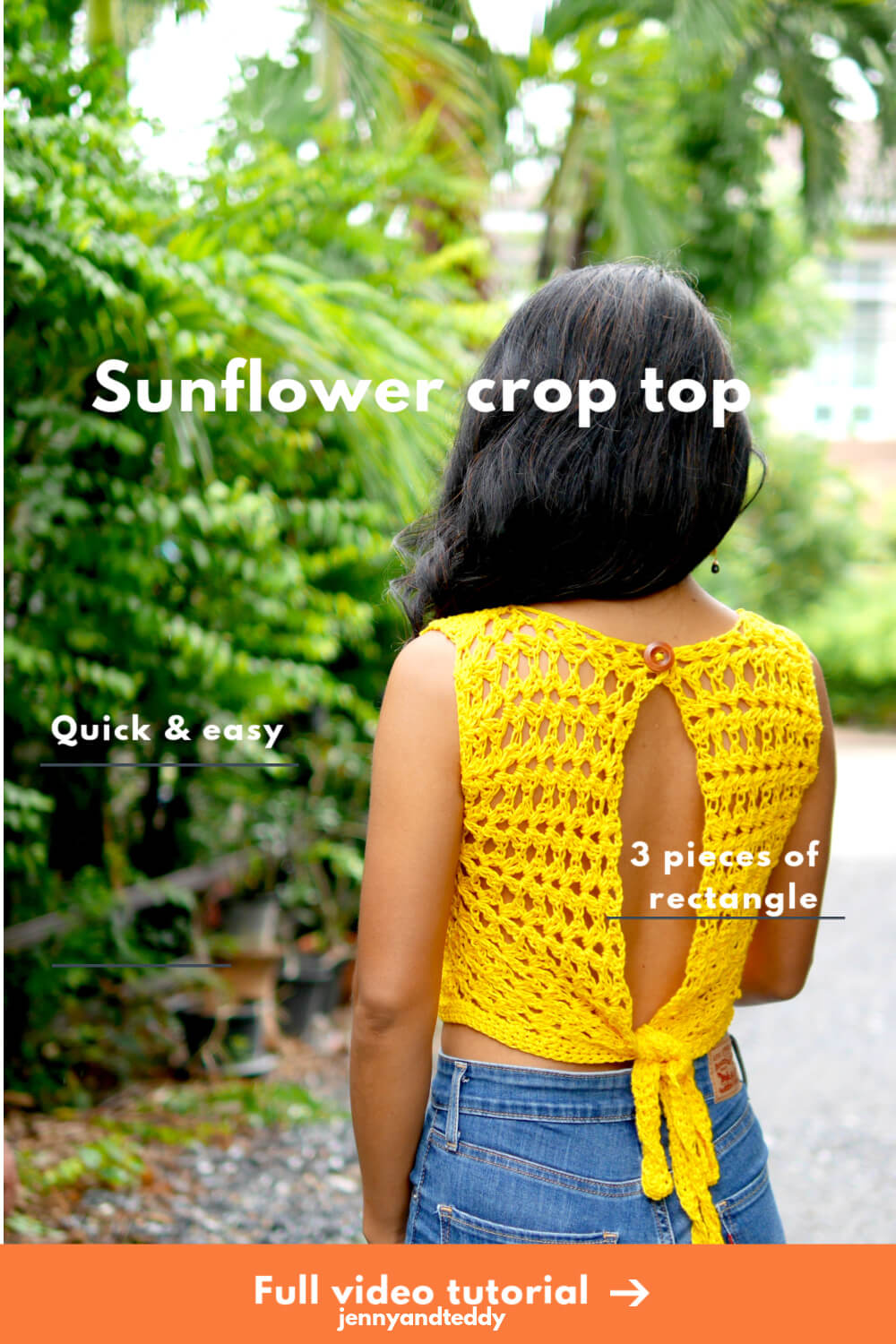 sunflower croptop easy crochet tutorial