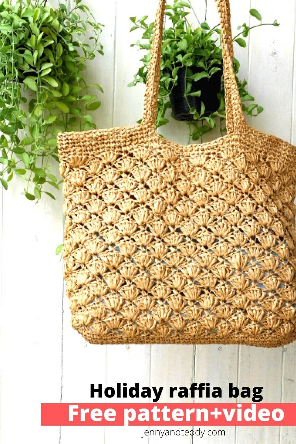 holiday crochet raffia bag free pattern and video tutorial