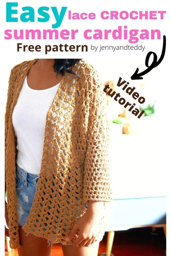 easy crochet lace summer cardigan free pattern and video tutorial