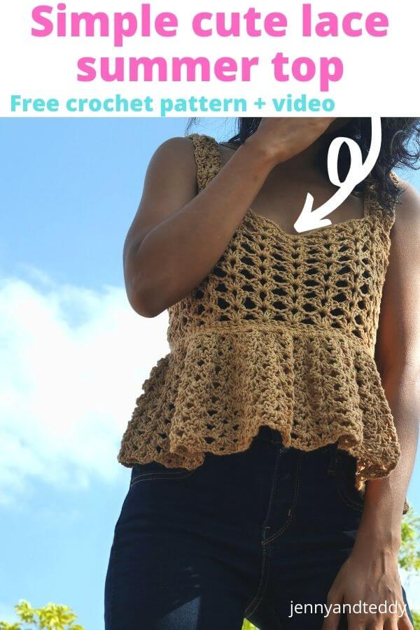 jessy simple cute crochet summer lace top free pattern