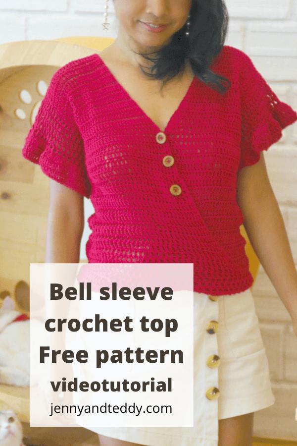 cute crochet bell sleeve top free pattern