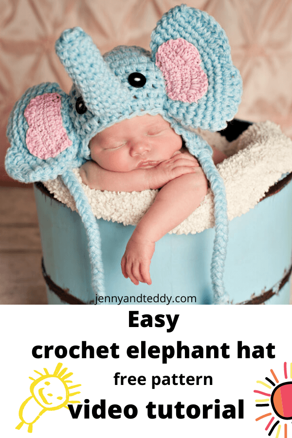 elephant crochet baby hat free pattern witth video tutorial
