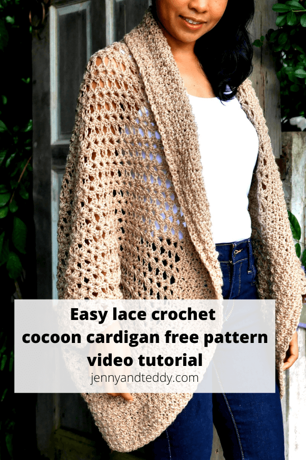Easy crochet lace cocoon cardigan free pattern with video tutorial step by step