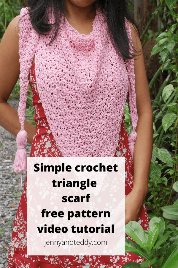 beginner crochet triangle scarf free pattern with step by step video tutorial  by jennyandteddy crochet blog.