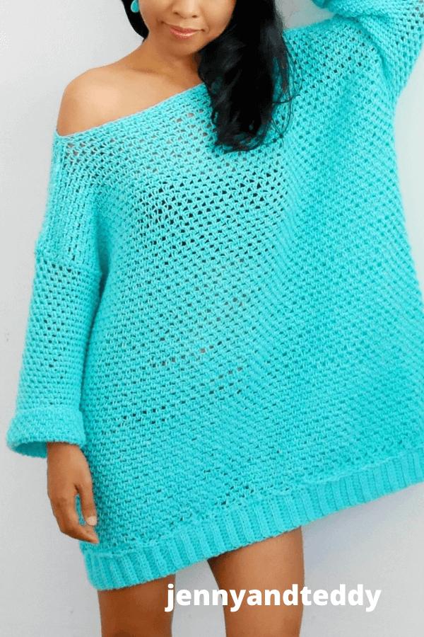 easy crochet knit look sweater dress free pattern.