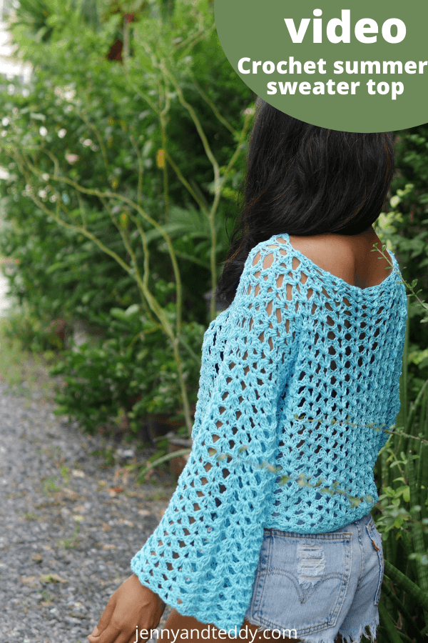 crochet summer lacy blouse with long sleeve free pattern small to plus size.