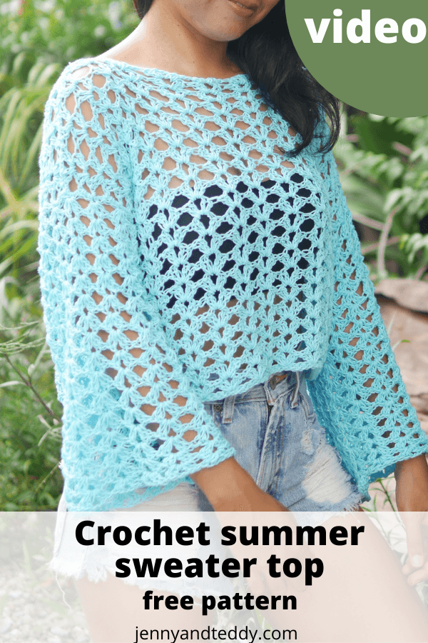summer crochet sweater top free pattern with video tutorial