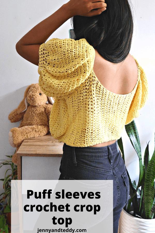Easy crochet puff sleeves crop top free pattern with video tutorial.