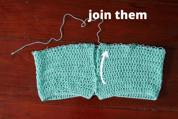 join the crochet rectangle