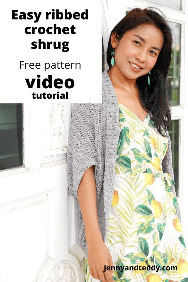 easy crochet ribbed shrug cardigan free crochet pattern with video tutorial.