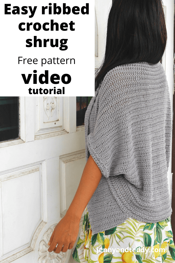 Simple crochet cardigan shrug cocoon free pattern with video tutorial plus size.
