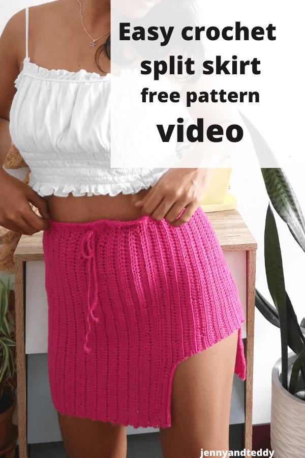 Simple crochet skirt with wide split free pattern plus size.