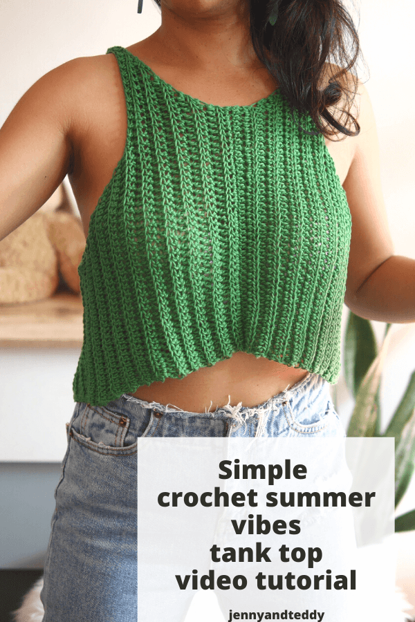 simple crochet summer vibes tank top free patten with video tutorial.